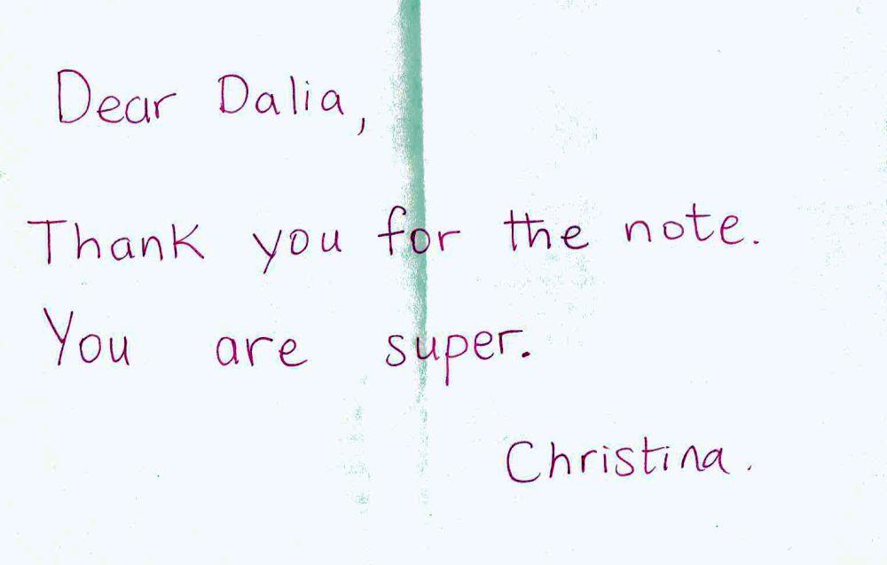 List od nauczycielki Cristiny