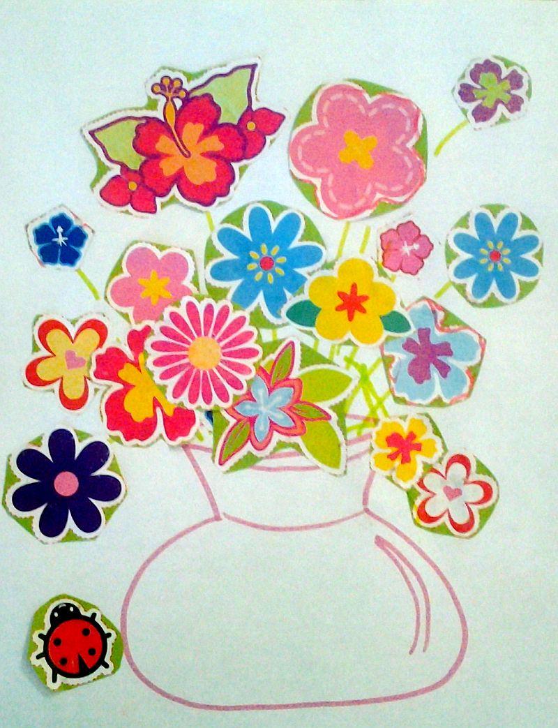 Kolaż - kwiaty w wazonie