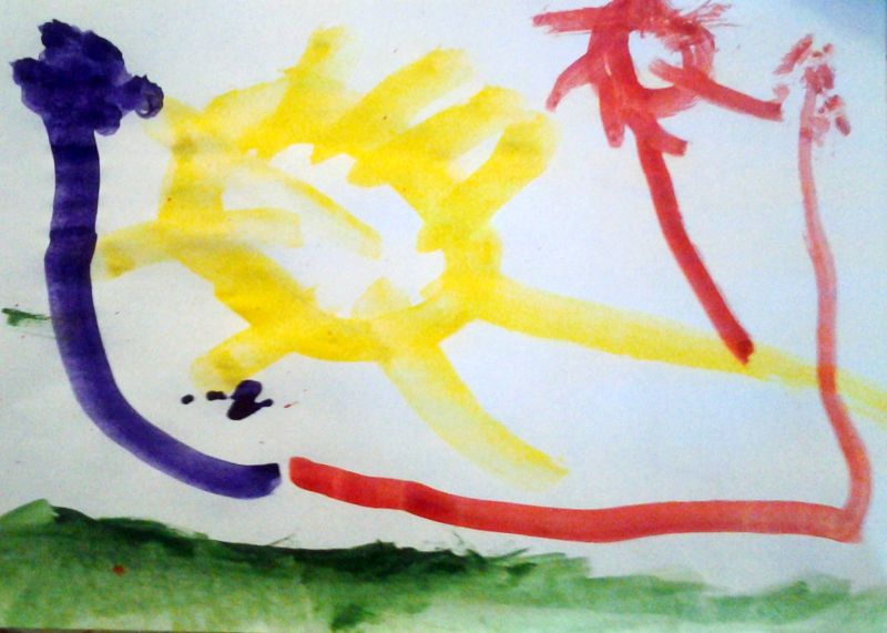 Słońce i kwiaty - obraz farbami