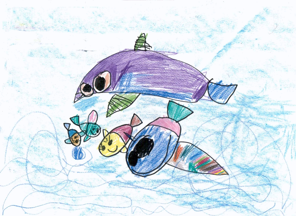 Delfin i rodzina rybek